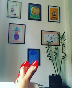 Having a break at the office. The Office, Gallery Wall, My Love, Frame, Instagram Posts, Red, Shoes, Home Decor, Fashion