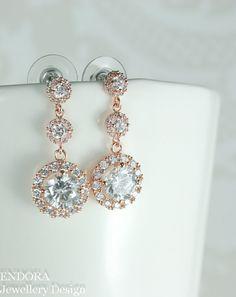 Bridal earrings Rose gold bridal earrings by #EndoraJewellery
