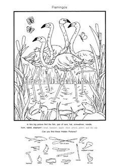 Animal Activities, Activities For Kids, Diy And Crafts, Crafts For Kids, Barbie Coloring Pages, Paper Games, Hidden Pictures, Hidden Objects, Pink Bird