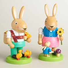 Featuring a lederhosen-clad papa bunny with ducks and an egg-filled backpack and a dirndl-wearing mama bunny with flowers and a baby bunny, our hand-painted nutcracker set is full of personality and intricate detail. >> #WorldMarket Easter