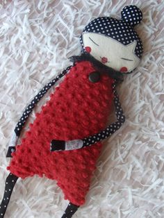Handmade Art Doll Red and polka dots Doll of a Friend by LARION, Ft10000.00