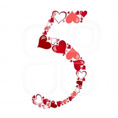 Number of hearts vector illustration