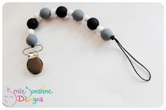 Silicone Pacifier Clip / Toy Leash, Eco Friendly and Uber Cute - Monochromatic  Smile Sunshine Designs WAHM Chew Beads