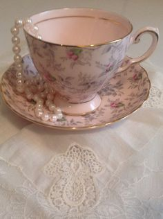 Elegant Tuscan Fine Bone China tea Cup and Saucer by Jennsfunfinds, $12.00