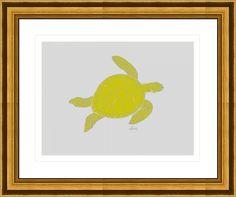 sea turtle 10h yellow, by  fractal mandala art