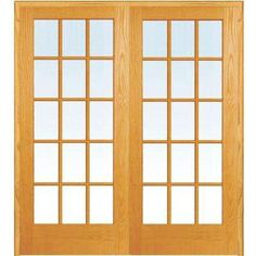 73.5 in. x 81.75 in. Classic Clear True Divided 15-Lite Unfinished Pine Wood Interior French Double Door