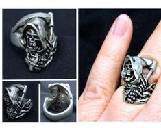 grim Reaper skull Ring for unisex made of sterling silver 925 Gothic biker Gothic Rings, Sterling Silver Mens Rings, Biker Rings, Biker Style, Statement Rings, Beautiful Rings, Jewelry Shop, Class Ring, Rings For Men