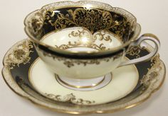 Black and Gold Vintage Noritake Skull Tea Cup, Steampunk/Goth Tea Party