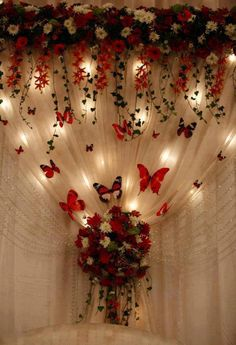 Butterfly Wedding Decor - Beautiful backdrop for the reception hall Quince Decorations, Quinceanera Decorations, Butterfly Decorations, Quinceanera Party, Wedding Decorations, Backdrop Butterfly, Butterfly Centerpieces, Wedding Ideas, Red Wedding Centerpieces
