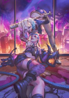 Crazy Duo - Harley Quinn x Jinx - More at https://pinterest.com/supergirlsart…