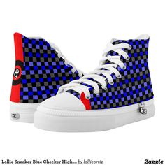 Lollie Sneaker Blue Checker High Top Shoes Printed Shoes