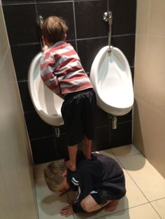 Teamwork - I'm sure this happens in the boys bathroom as they are always up to something!!