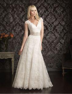 a-line wedding dresses | Bridal Gowns > All Bridal Gowns > Lace V-Neckline A-Line Wedding Dress ...