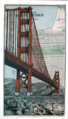 Reproduction of Eric Rewitzer's linocut series. digital print on × Hot Press Bright White paper. Ready for framing. Fort Point, Map Background, Wood Engraving, Linocut Prints, Map Art, Golden Gate Bridge, Blue Backgrounds, Aesthetic Wallpapers, Digital Prints