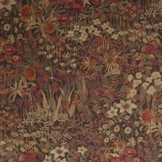 Faria Flowers Velvet Fabric A larger scale version of the Floral Clay print, this gorgeous velvet fabric features a variety of flowers in full bloom, printed in shades of cherry, gold and sage green on a mole backdrop.