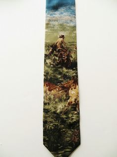 Silk Necktie, Cowboy Horse Cattle, Rodeo, Art of Ties, Made in Italy, Gift for Him, Unused Mint, Cowboy Western Cattle Drive Necktie by TomCatBazaar on Etsy