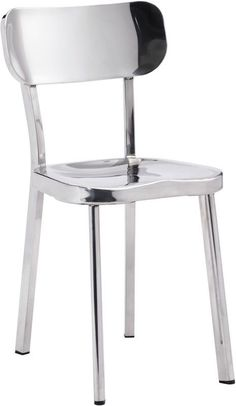 Zuo Modern 100301 Winter Dining Chair Color Polished Stainless Steel Polished Stainless Steel Finish - Set of 2