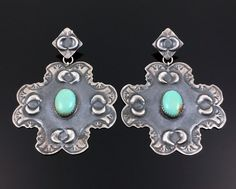 LARGE NAVAJO HAND STAMPED STERLING SILVER TURQUOISE CROSS EARRINGS by ALVIN BOY