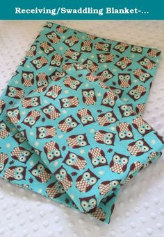 """Receiving/Swaddling Blanket- Turquoise Owls. Beautiful receiving blanket displaying adorable owls. Made in an extra large 35x35"""" size of 100% cotton flannel, this blanket is perfect for swaddling much past what store bought receiving blanket allow. All of our receiving blankets are also available as minky blankets with minky backing, as burp cloths with terry or chenille backing, or in a set of all three. Please see other shop listings for details."""