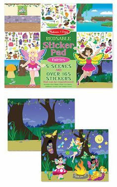 This reusable fairy sticker activity pad let kids create perfect pixie pictures, using fairies, flowers, glowing lanterns, friendly bugs, and more to decorate and fill each oversize scene.