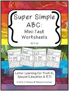 Super Simple ABC: Alphabet Worksheets, Letter Learning {Pr