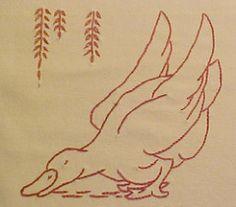 Farm Quilt-Block 18-Duck (lasassone) Tags: embroidery redwork rubymckim farmquilt