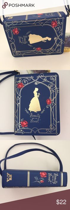 "Beauty and The Beast Storybook Purse Absolutely adorable purse that looks like a book. Measures 8"" x 6"" x 2.5"". Disney Accessories Bags"