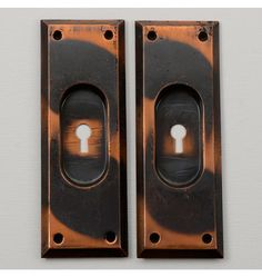 Pair of Bevel-Edge Pocket Door Pulls, C1905 | Rejuvenation #vintagelove #vintagedecor #vintage #recycle #vintagecreative #interiordesign #homedecor #upcycled #antique #salvage #metal
