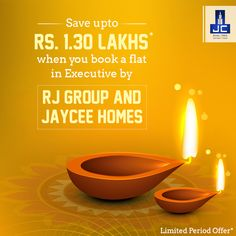 This Diwali add a lot more brightness to your life while you live in the lap of luxury. Simply book a flat in the Executive by RJ Group and Jaycee Homes and enjoy a saving benefit of upto Rs. 1.30 Lakhs*. Know more here http://bit.ly/JayceeExecutive