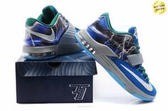 "Mens KDVII-022 Nike KD VII Blue Green ""Thunder"" Sneakers"