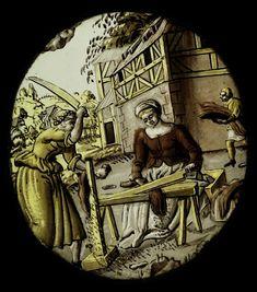 """November,"" stained glass, c. 1530-40, Nuremberg."