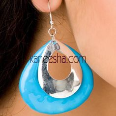 Turquoise/Silver Disc Earrings Price: Usa Dollar $12, British UK Pound £07, Euro 9, Canada CA$ 13, Indian Rs648.