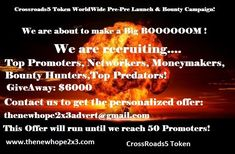 """Advertising Platform Since: 2017 """"All in One"""" Project: Advertising- Wealth Biulding- Pre-Pre ICO Campaign- Donation. Make More Money, Extra Money, Token, Company Introduction, Pay It Forward, Free Advertising, Blockchain Technology, Rich Man, Bounty Hunter"""