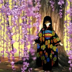 """Perhaps it is time to die."" Kiddo got me into the Hell Girl anime series & I've just fallen in love with the styling & colors. (Not to mention the storyline.)"