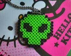 Alien Head Perler Bead Keychain