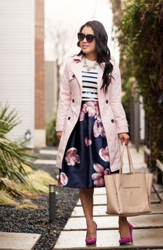 cute & little blog   petite fashion   pink trench, navy sequin stripes sweater, navy pink floral midi skirt, fuchsia pink pumps   spring outfit