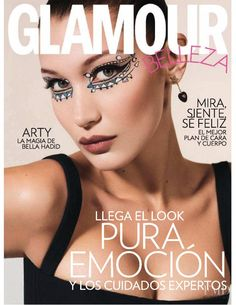 Bella Hadid covers 'Glamour Spain' : It's a pretty standard close-up shot for a cover but the outstanding makeup certainly made it stand out from the pack. Brand Magazine, Magazine Design, Glamour Magazine, Beauty Magazine, Img Models, Bella Hadid, Gigi Hadid, Glamour Photo, Vanessa Paradis