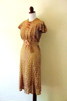 Vintage 1930s Pale Rose Lace Art Deco Dress by RetroKittenVintage, $125.00