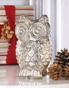 QUILTED SILVER MERCURY GLASS OWL FIGURINE DECOR NEW~10015866