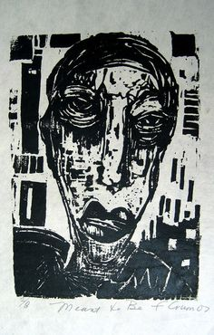 Frances Crum...MEANT TO BE  Original handpulled woodcut relief by artistmadedream,