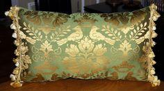 SCALAMANDRE LOVEBIRD LARGE LUMBAR PILLOW w/ SILK SCALAMANDRE TASSEL TRIM $299 I have a lot of this fabric- need to make some lumbar pillows!