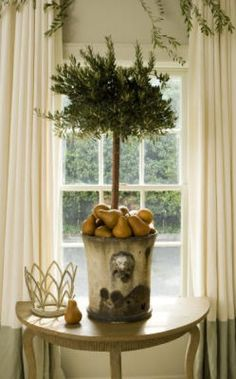 olive topiary with pears