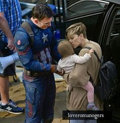 Why am I not surprised that Scarlett would bring in her kid for Chris Evans to play with?