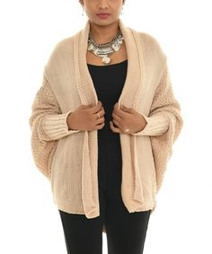 Beige Knit Cocoon Open Cardigan - Women & Plus | Best Price and Reviews | Zulily Cocoon Cardigan, Open Cardigan, Sweater Cardigan, Winter Wardrobe, Cardigans For Women, Hue, Pullover Sweaters, How To Make, How To Wear