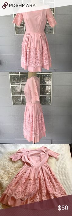 AUTHENTIC 1950s PINK PARTY DRESS Vintage 1950s party dress👗 This is the perfect princess dress 👑 Beautiful pink dress can be worn with or without a crinoline. 100% cotton. No size, but fits a modern size 2 in my opinion. Zipper closure. ✨PLEASE NOTE ✨ It is over 60 years old, and as such, needs a little TLC. There are some tears to the arm area as shown, and also some mild age stains.  I am willing to repair small tears and work on some of the staining for an extra $10. Please comment if…