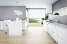 hvitt kjøkken grå vegg - Google Search
