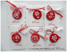 red and white - martisor charms - Chichiridiche Baba Marta, Mars, Red And White, Things To Do, Projects To Try, Wanderlust, Traditional, Christmas Ornaments, Holiday Decor