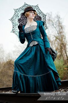 Miss Giselle Goes Undercover ~ Victorian Steampunk 3-Piece Ensemble in Denim