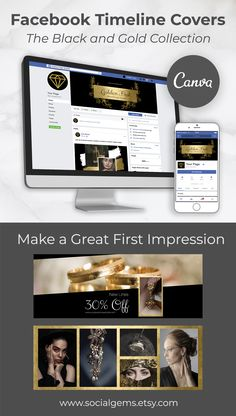 Gold Facebook Covers Template ideal for social media marketing Facebook Cover Photo Template, Facebook Cover Design, Facebook Timeline Covers, Timeline Cover Photos, Graphic Design Tools, Facebook Brand, Group Boards, Branding Kit, Instagram Story Template