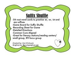 suffix shuffle suffix game! great for literacy stations/ reading centers/ small group